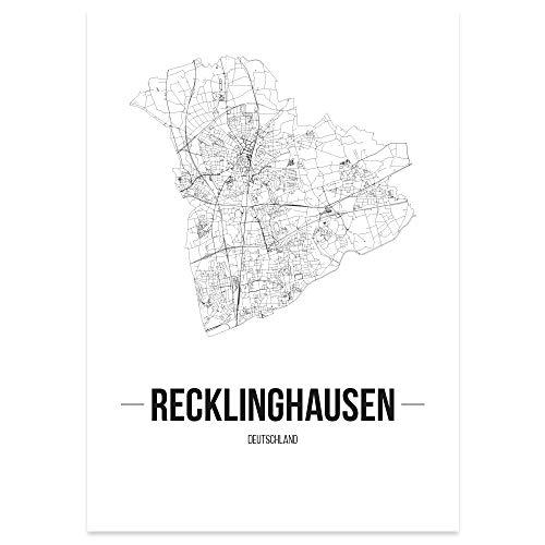 JUNIWORDS Stadtposter - Wähle Deine Stadt - Recklinghausen - 60 x 90 cm Poster - Schrift B - Weiß