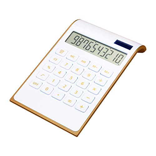 CAVEEN Calculator Ultra Thin Solar Power Calculator for Home Office Desktop Calculator Tilted LCD Display Business (White Basic)
