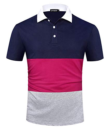 Musen Men Short Sleeve Polo Shirts Big and Tall Performance Golf Fashion Polo Color Block Rugby Polo Tshirts Navy-Plum-Grey 3XL