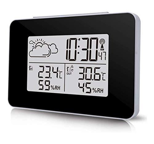 WYZQ Estación meteorológica Digital con Sensor PR para Exteriores e Interiores Reloj Despertador Pantalla LCK Pantalla de Temperatura/Humedad, Pronóstico del Tiempo Reloj de cabecera de Escrito