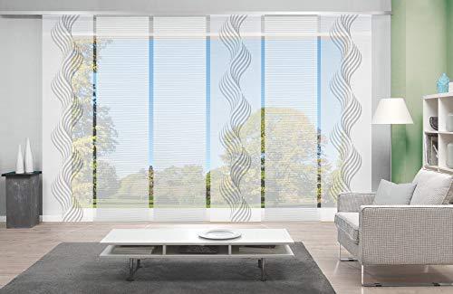 wohnfuehlidee 6er-Set Flächenvorhang in Bambus-Optik, Sandra, Höhe 245 cm, 3X Dessin grau / 3X Uni weiß, halbtransparent