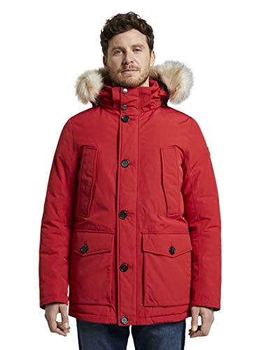 TOM TAILOR Herren Padded Winter Jacke, Rot (Samba Red 12830), L