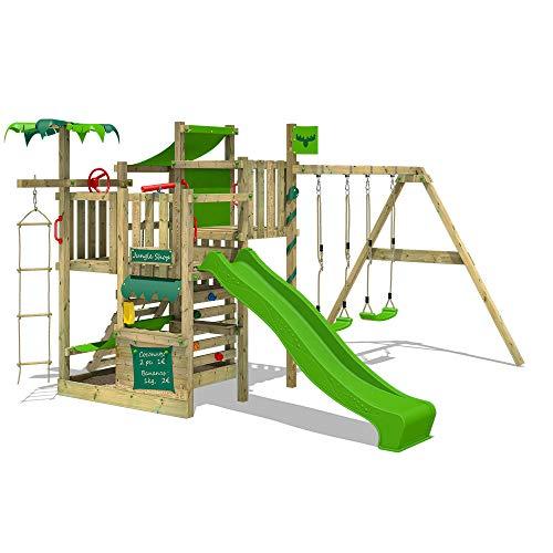 FATMOOSE Klettergerüst Spielturm CrazyCoconut mit Schaukel & apfelgrüner Rutsche, Gartenspielgerät mit Sandkasten, Leiter & Spiel-Zubehör
