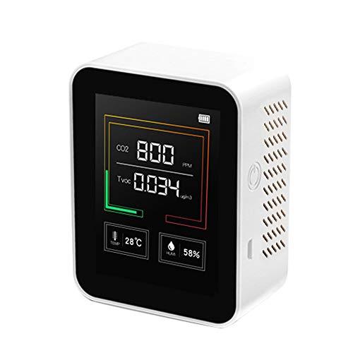 Kecheer Medidor de CO2/TVOC/temperatura/humedad,Detector de dióxido de carbono,Co2 monitor Medidor calidad aire multifuncional