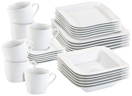 Rosenstein & Söhne Essgeschirr: Porzellan-Kombiservice für 6 Personen, spülmaschinengeeignet, 30 Teile (Essservice)