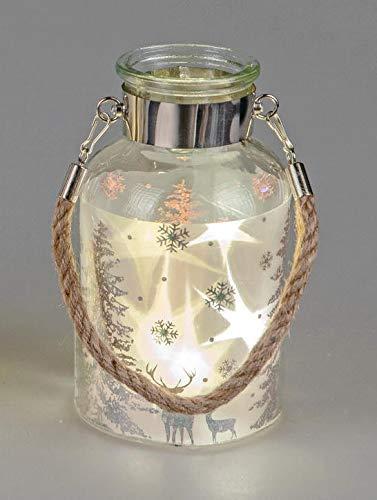 Windlicht mit Licht 10x19cm aus klarem Glas mit winterlichem Dekor, 5 LED-Lämpchen und Folie mit Stern-Effekt;