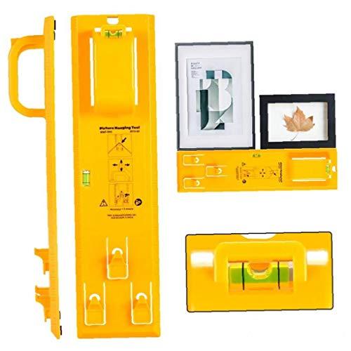 Cuadro Colgado De Herramientas Con Nivel Fácil Marco De Imagen Percha Kit De Fijación Mural (amarillo) Práctica Y Utilidades