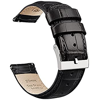 Ritche 22mm Watch Band Quick Release Alligator Watch Straps Black Leather Watch Bands for Men Women