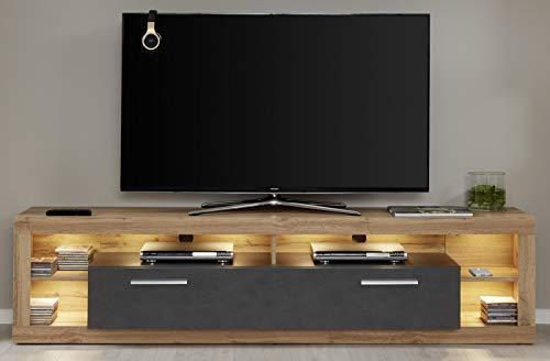 trendteam smart living 182685248 Rock Wohnen, TV-Unterteil Groß, Holzdekor, weiß, 44 x 200 x 48 cm