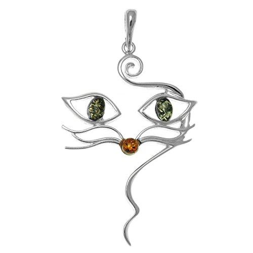 Amazing Honig Bernstein und Sterling Silber Katze Gesicht Anhänger mit grünen Bernstein Augen