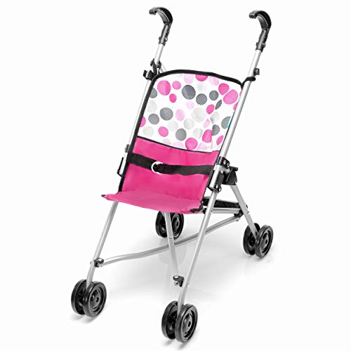Hauck Cochecito para muñecas de Toys for Kids, modelo UNO Mini, ligero cochecito para muñecas con ruedas dobles y correa, plegable pequeño, diseño de lunares rosas