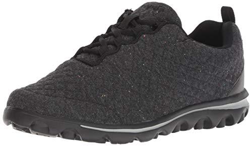Propet Women's TravelActiv Woven Fashion Sneaker, Black Quilt, 10 Narrow