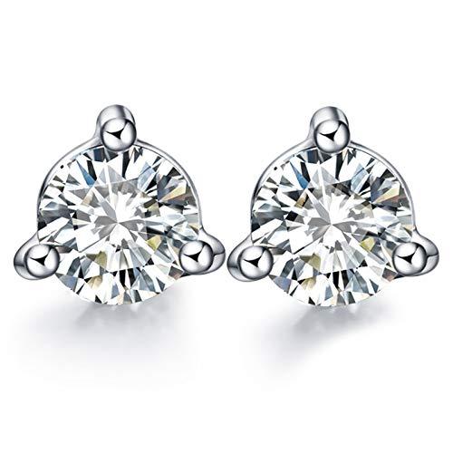 Beydodo Pendiente de Plata Mujer,Pendientes de Oro Blanco 18 Kilates Redondo con 3 Garras Diamante 0.05ct
