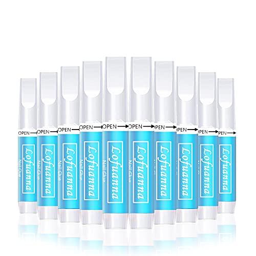 lofuanna 10 Pcs Nagelkleber, Extra stark und schnelltrocknend Nail Glue Salon-Qualität,Schnell Trocknende Nail Art Kleber Tips für die professionelle Nagelverlängerung künstliche Fingernägel (10 PCS)