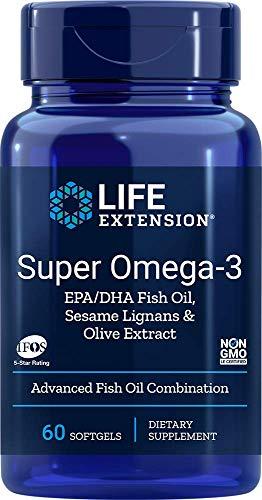 Life Extension Super Omega-3 EPA/DHA mit Sesam Lignane & Olive Extrakt - 60 softgels