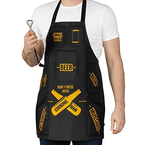 Delantal de cocina con bolsillos para cerveza, ketchup, mostaza, parrilla, barbacoa o cocina, abridor de botellas incluido, divertido regalo para hombres de verdad, impermeable