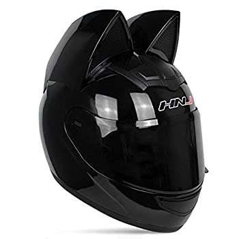 Adult Personalized Cat Ear Motorcycle Helmet,Men and Women Cool Cat Locomotive Motorcycle Full Face Helmet,DOT/FMVSS-218 Certification Standard,Suitable for All Seasons,Black,M