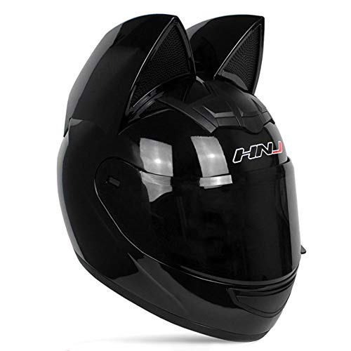 Adult Personalized Cat Ear Motorcycle Helmet,Men and Women Cool Cat Locomotive Motorcycle Full Face Helmet,DOT/FMVSS-218 Certification Standard,Suitable for All Seasons,Black,L
