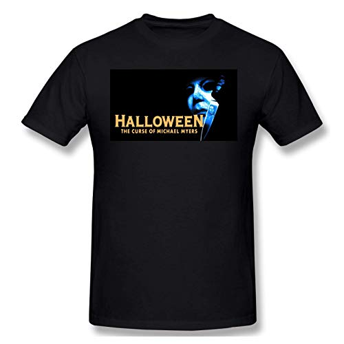 IUBBKI Camiseta básica de Manga Corta para Hombre Halloween The Curse of Michael Myers Vintage Mens T-Shirt Black