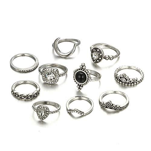 10pcs Multi-Styles Geometric Boho Knuckle Ring for Women Jewelry (Style 8)