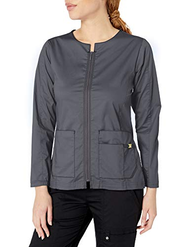 WonderWink Women's Zip Front Jacket, Pewter, MD