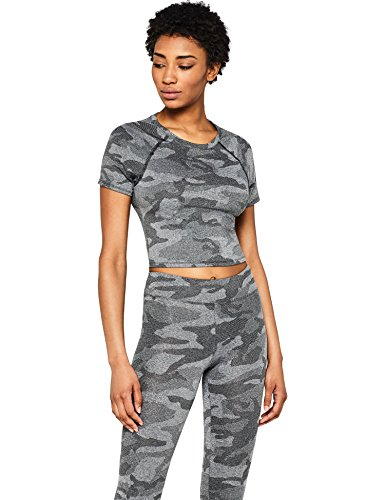 Amazon-Marke: AURIQUE Damen Croptop mit Camouflage-Muster, Schwarz (Black), 40, Label:L