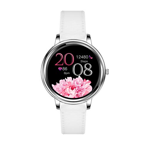 LXF JIAJU Smart Watch Pantalla Táctil Completa 39mm De Diámetro Mujer Smartwatch para Mujeres Y Niñas Compatible con Android Y iOS (Color : White Leather Strap)