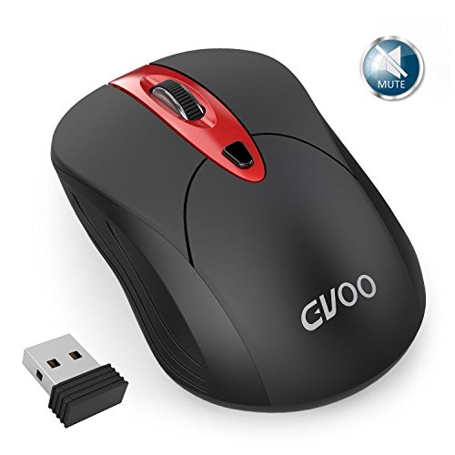Gvoo 544468 Wireless, 2.4G Noiseless Silent USB Adjustable DPI 1000/1500/2000 Nano Receiver Long Range Optical Cordless Mouse for PC Windows Mac Linux Vista Tablet Computer, Black