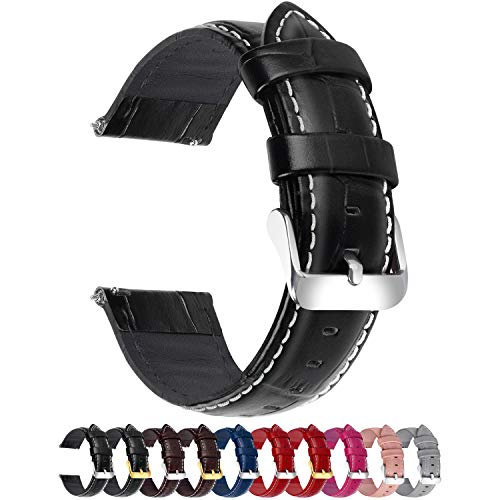 Quick Release Watch Band, Fullmosa Bamboo Leather Watch Strap for Samsung Gear S3 Classic/Frontier/Galaxy Watch (46mm)/Huawei Watch 2 Classic/pro/GT 2 46mm/Moto 360 2nd Gen 46mm/Amazfit GTR 47mm/Garmin Active/MARQ/LEGACY, 22mm Black