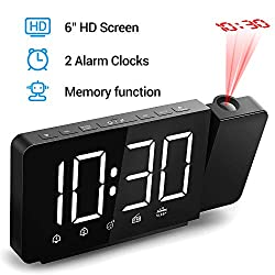 Quntis 360° Projection Alarm Clock 6 Large Digital LED Display&Dimmer Projection Clock on Wall/Ceiling with AM FM Radio & Sleep Timer, Dual Alarms, USB Charger, Battery Backup (Black)