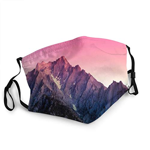 VANKINE Face Cover Lilac Sunset Mountains Snow Balaclava Unisex Reusable Windproof Anti-Dust Mouth Bandanas Outdoor Camping Motorcycle Running Neck Gaiter for Teen Men Women