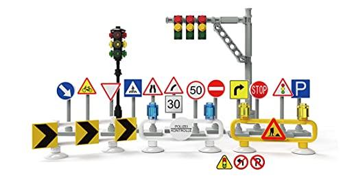 Bausteine Ampel & Straßenschilder Set, City Verkehrszeichen Set für BAU Platten, Straßenplatten