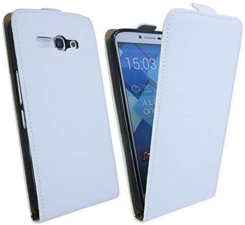 ENERGMiX Handytasche Flip Style kompatibel mit Alcatel One Touch POP C9 7047D in Weiß Klapptasche Hülle