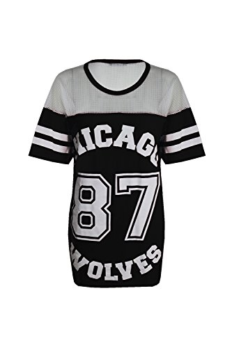 Damen T-Shirt Chicago 87 Wolves Lockeres Übergroßes Baseball T-Shirt Kleid Langes Top - Schwarz, S/M (EU 36/38)