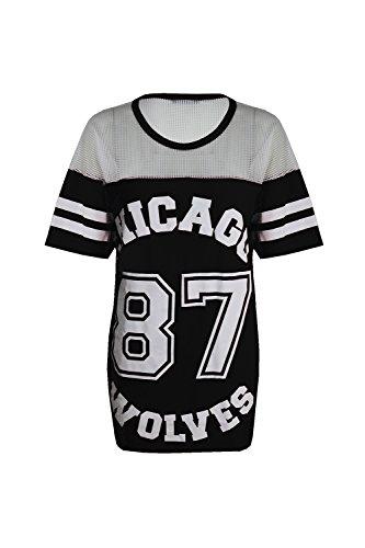 Damen T-Shirt Chicago 87 Wolves Lockeres Übergroßes Baseball T-Shirt Kleid Langes Top, Black - New Stretchy University Chicago Hockey, S/M (EU 36/38)