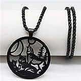 LETAMG Halskette Mode Klinge Edelstahl Halsketten Männer Jewerly Schwarz Farbe Gothic Halsketten & Anhänger Schmuck Collier Homme N17939-Wolf Bk 60Cm Dose