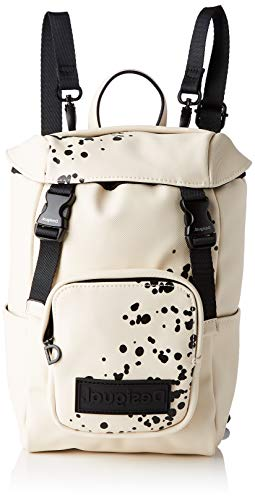 Desigual PU Backpack, Mini mochila de poliuretano. para Mujer, Blanco, Medium