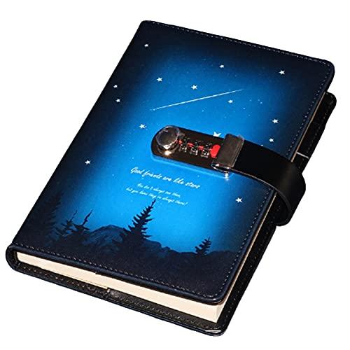 Schreibtagebuch, Notizblock, Sub-Notebook, Tagebuch mit Schloss verdicktes Handbuch, Passwortschloss, Tagebuch Sternenhimmel, Meteornotizbuch (Farbe: Blau, Größe: A)