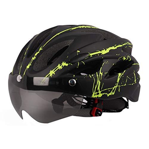 happyhouse009 Fahrradhelm Skaterhelm, Skates Skateboard Elektroroller Helm, Unisex Adult Ultralight Fahrrad-Fahrradhelm mit Schutzbrille für Outdoor-Sportarten Green Black