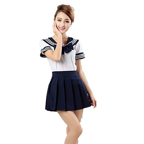 Missley Cute School Uniform Kleid Mädchen Outfit Sailor Uniform Cosplay Kostüm ,Dark Blau, Small