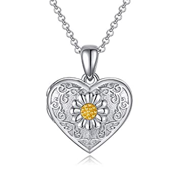 PEIMKO Sterling Silver Cameo Sunflower Locket Necklace That Hold 2 Pictures Heart Locket Photo Necklace Memorial Gifts for Women Girlfriend