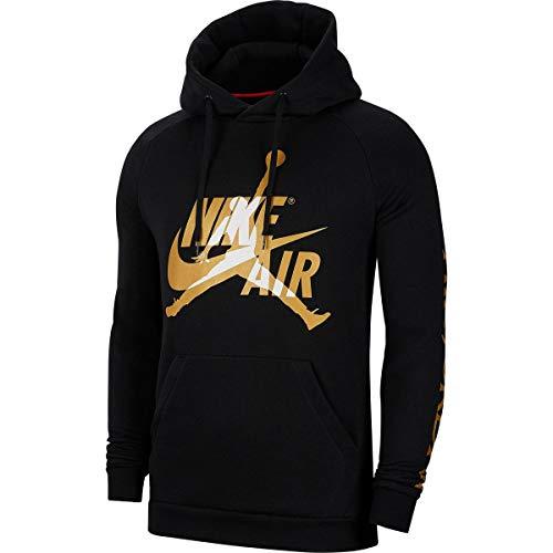 Nike M J Jumpman Classics Fleece Pull Over Hoodie BV6010-012 Size L Black/Metallic Gold