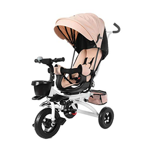 AMZFDC Baby Tricycle, 5-in-1 Kids Stroller Tricycle with Adjustable Push Handle, Removable Canopy, Safety Harness for 6 Months - 5 Year Old