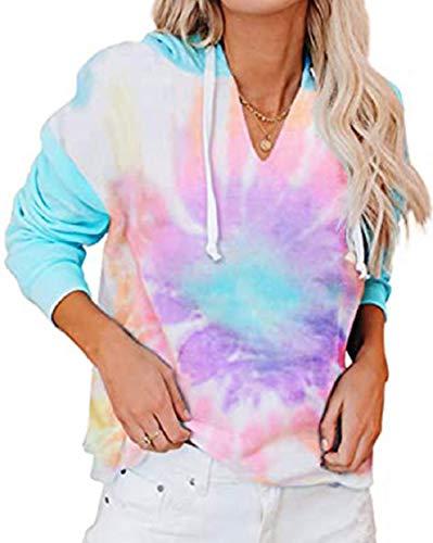 Tuopuda Sudadera con Capucha para Mujer Tie-Dye Estampado con Manga Larga Jerséis Sueltos Sudadera de Talla Grande Cuello Pico Camiseta Otoño Invierno Mujer Chándal