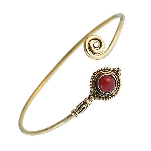 Chic-Net Messing Armreif antik golden Karneol Spirale rund Kugeln verstellbar antik Tribal Schmuck
