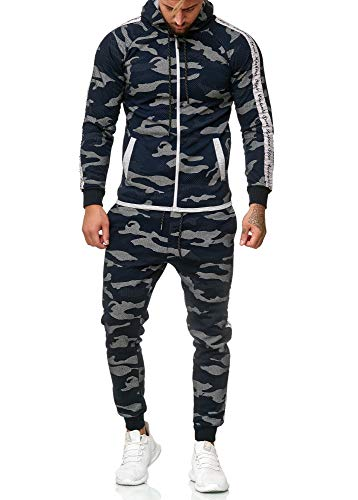 OneRedox Herren Jogginganzug Sportanzug Modell 1011 Blau XXL