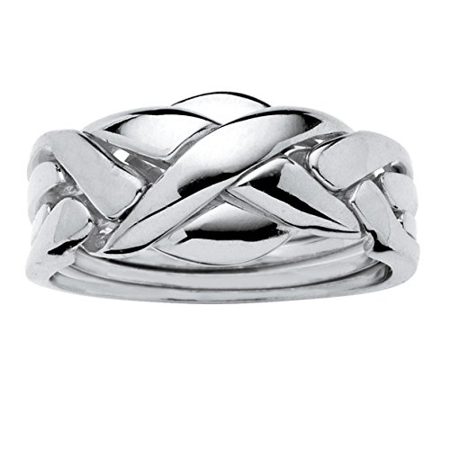 Palm Beach Jewelry 14K Yellow or Rose Gold-Plated or Platinum-Plated Braided Interlocking Puzzle Ring Size 7
