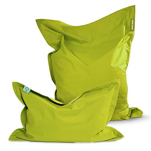 Green Bean © 2er Set Square XXL + BeBi Sitzsack - 380L + 70L EPS Perlen Füllung - Abnehmbarer Bezug - Indoor & Outdoor Beanbag - Sitzkissen Bean Bag Bodenkissen Lounge für Kinder & Erwachsene - Grün
