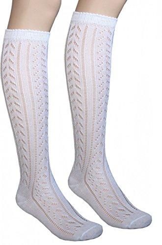 German Wear Damen Trachtenstrümpfe Trachtensocken kniestrümpfe Socken strümpfe mit Ajourmuster Weiß, Größe:35-38