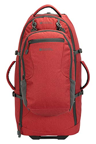 Mountain Warehouse Voyager Wheelie 50 + 20 l Rucksack - Abnehmbarer Tagesrucksack, Rucksack mit Schulterriemen, Reißverschlüsse - Für Reisen, Wandern, Camping, Frühling Rot Einheitsgröße